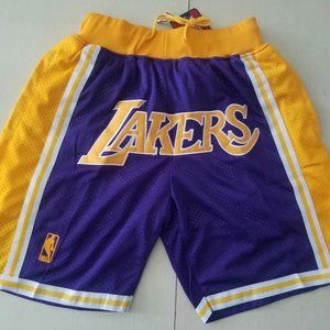 Lakers retro dense embroidered zipper shorts